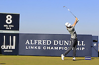 Kevin Phelan (IRL) on the 8th tee during Round 1 of the 2015 Alfred Dunhill Links Championship at Kingsbarns in Scotland on 1/10/15.<br /> Picture: Thos Caffrey | Golffile