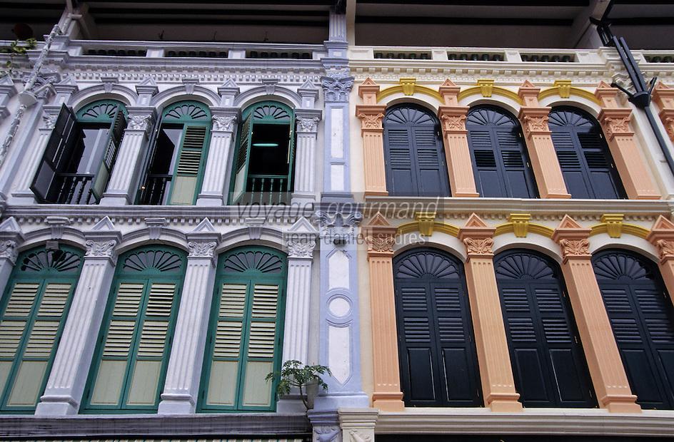 Asie/Singapour/Singapour: Tanjong Pagar - Détail de la façade des shophouses