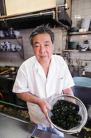 Sanroku Honten owner and chef Eiji Shinomiya, Tokushima, Tokushima Prefecture, Japan, February 3, 2012.