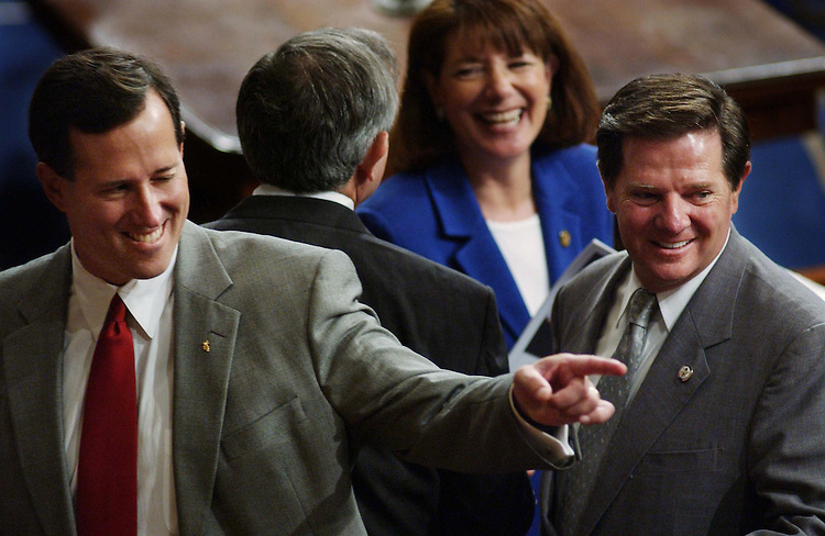 9/23/04.ALLAWI SPEECH--Senate GOP Conference Chair Rick Santorum, R-Pa., and House Majority Leader Tom DeLay, R-Texas, after the address by Iraqi Interim Prime Minister Ayad Allawi to a joint meeting of the House and Senate. CONGRESSIONAL QUARTERLY PHOTO BY SCOTT J. FERRELL
