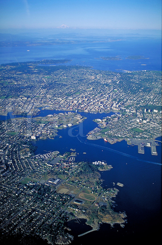 Aerial view of city center viewed from approximately 5000 ft.  Capital city of BC. Gulf Islands, San Juan Islands, urban, vista. Victoria British Columbia Canada City Center.