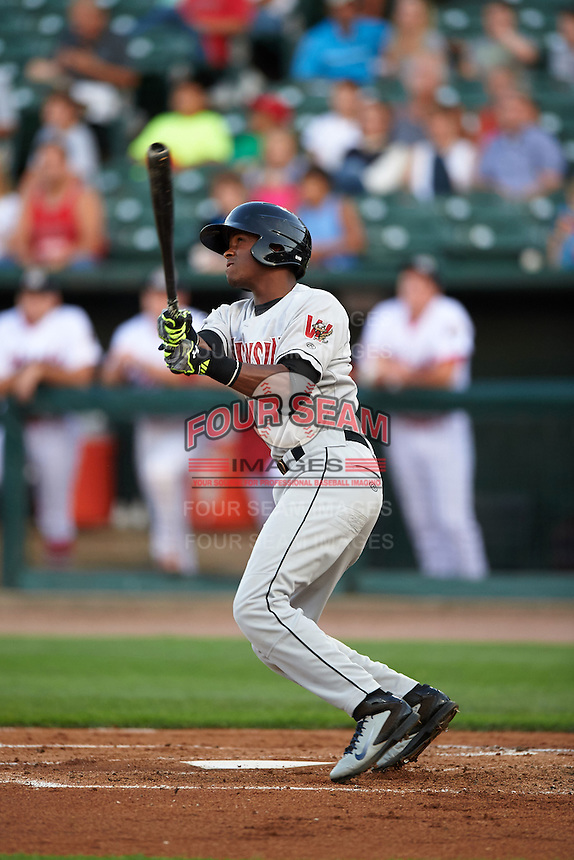 Wisconsin Timber Rattlers outfielder Luis Aviles (3) hits a home run during a game against the Peoria Chiefs on August 21, 2015 at Dozer Park in Peoria, Illinois.  Wisconsin defeated Peoria 2-1.  (Mike Janes/Four Seam Images)