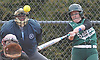 Jackie Nieman #6 of Seaford connects for leadoff single in the top of the second inning of a Nassau County varsity softball game against Plainedge at Schwarting Elementary School in Massapequa on Friday, April 6, 2018. Seaford won by a score of 9-2.