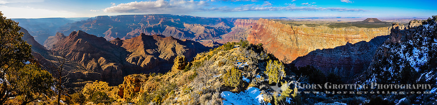 United States, Arizona, Grand Canyon. Desert View is the first lookout when arriving from the east. A lot of the panorama here also includes a view of the Painted Desert. Panorama view.
