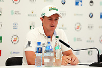 Paul Dunne (IRL) at a press conference during the preview to the Dubai Duty Free Irish Open, Ballyliffin Golf Club, Ballyliffin, Co Donegal, Ireland.<br /> Picture: Golffile | Jenny Matthews<br /> <br /> <br /> All photo usage must carry mandatory copyright credit (&copy; Golffile | Jenny Matthews)