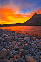 Sunrise over Waterton Lakes. Vimy Peak (Ridge) at right., Waterton Lakes National Park, Alberta, Canada