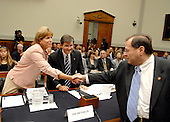 Washington, D.C. - June 25, 2007 -- Former Environmental Protection Agency (EPA) Administrator Christine Todd Whitman shakes hands with United States Representative Jerrold Nadler (Democrat of New York) prior to her testimony before the United States House Constitution, Civil Rights, and Civil Liberties Subcommittee hearing on post 9/11 air quality in New York and the area surrounding the Twin Towers in Manhattan in Washington, D.C. on Monday, June 25, 2007.  John L. Henshaw looks on.<br /> Credit: Ron Sachs / CNP<br /> (RESTRICTION: No New York or New Jersey newspapers or Newspapers within a 75 mile radius of New York City)