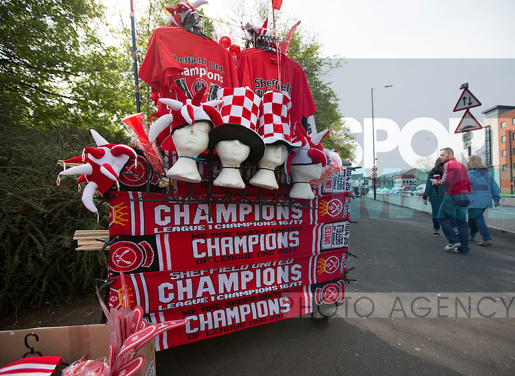 Sheffield United's scarves out for sale during the League One match at Bramall Lane, Sheffield. Picture date: April 30th, 2017. Pic David Klein/Sportimage