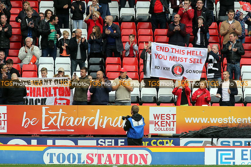 The Coalition Against Roland Duchatelet (Card) urged Charlton fans to bring their own anti-regime banners to the game against Chesterfield as it is 'Free Speech' day at 'The Valley' during Charlton Athletic vs Chesterfield, Sky Bet EFL League 1 Football at The Valley on 29th October 2016