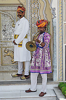Greeting party at the entrance to Raj Palace Hotel, Jaipur, India