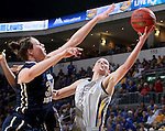 SIOUX FALLS, SD - MARCH 9: Vicky McIntyre #34 of Oral Roberts blocks the shot of Megan Waytashek #24 of SDSU in the first half of their semi-final round Summit League Championship Tournament game Monday afternoon at the Denny Sanford Premier Center in Sioux Falls, SD. (Photo by Dick Carlson/Inertia)