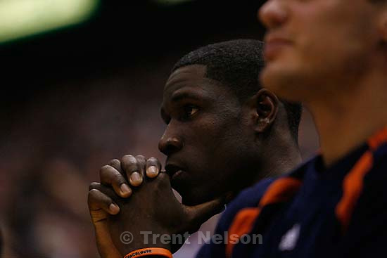 Salt Lake City - Golden State Warriors guard Mickael Pietrus (2), of France, on the sideline as time runs out on the Warriors' season. Utah Jazz vs. Golden State Warriors, NBA Playoff basketball, Game 5, at EnergySolutions Arena.