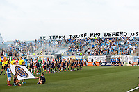 The Portland Timbers and the Philadelphia Union enter the field for pre-game introductions prior to a Major League Soccer (MLS) match at PPL Park in Chester, PA, on July 20, 2013.