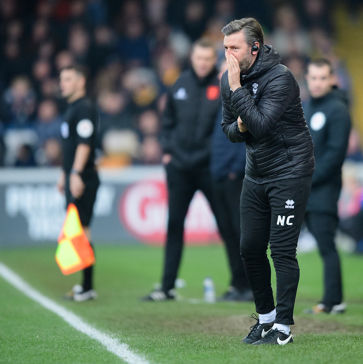 Lincoln City's assistant manager Nicky Cowley shouts instructions to his team from the technical area<br /> <br /> Photographer Chris Vaughan/CameraSport<br /> <br /> The EFL Sky Bet League Two - Lincoln City v Mansfield Town - Saturday 24th November 2018 - Sincil Bank - Lincoln<br /> <br /> World Copyright © 2018 CameraSport. All rights reserved. 43 Linden Ave. Countesthorpe. Leicester. England. LE8 5PG - Tel: +44 (0) 116 277 4147 - admin@camerasport.com - www.camerasport.com