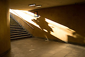 Shadow of someone arriving at Kalvin metro station, Budapest.