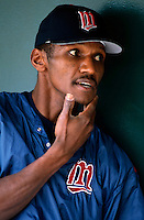 Otis Nixon of the Minnesota Twins plays in a baseball game at Edison International Field during the 1998 season in Anaheim, California. (Larry Goren/Four Seam Images)