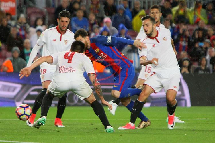 League Santander 2016/2017. Game: 30.<br /> FC Barcelona vs Sevilla FC: 3-0.<br /> Escudero, Kranevitter, Lionel Messi &amp; Sarabia.