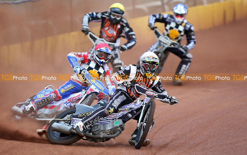 Heat 3: Daniel Hasley (white), David Mason (red), Lewis Blackbird (yellow) and Marc Owen (blue)  - Hackney Hawks vs Mildenhall Fen Tigers, National League Speedway at Hoddedson, Rye House - 11/06/11 - MANDATORY CREDIT: Rob Newell/TGSPHOTO - Self billing applies where appropriate - 0845 094 6026 - contact@tgsphoto.co.uk - NO UNPAID USE.