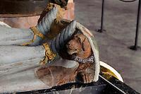 Grabplatte in der Krypta des Klosters in Kreszow (Gr&uuml;ssau), Woiwodschaft Niederschlesien (Wojew&oacute;dztwo dolnośląskie), Polen, Europa<br /> Gravestone in the crypt of Kreszow monastery, Poland, Europe