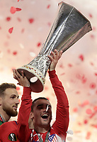 Club Atletico de Madrid's Antoine Griezmann holds up the trophy at the end of the UEFA Europa League final football match between Olympique de Marseille and Club Atletico de Madrid at the Groupama Stadium in Decines-Charpieu, near Lyon, France, May 16, 2018. Club Atletico de Madrid won 3-0.<br /> UPDATE IMAGES PRESS/Isabella Bonotto