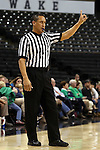 18 February 2016: Referee Bob Enterline. The Wake Forest University Demon Deacons hosted the University of Notre Dame Fighting Irish at Lawrence Joel Veterans Memorial Coliseum in Winston-Salem, North Carolina in a 2015-16 NCAA Division I Women's Basketball game. Notre Dame won the game 86-52.