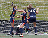 Pepperdine University forward Callie Payetta (11) celebrates her goal with . Pepperdine University defeated Boston College,1-0, at Soldiers Field Soccer Stadium, on September 29, 2012.