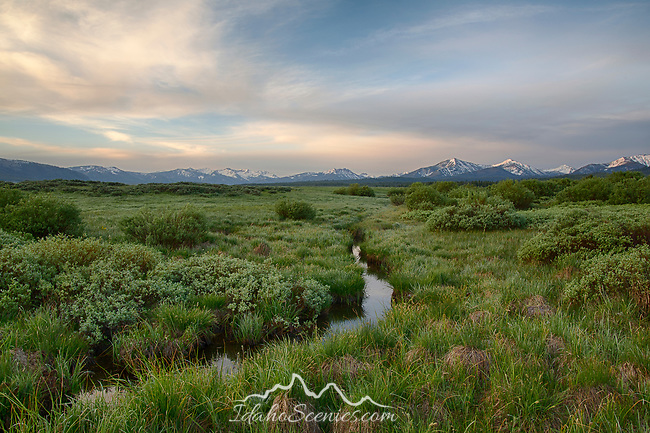 Idaho, South Central, Stanley, SNRA. A beautiful late spring morning in the Sawtooth National Recreation Area. Looking south east towards the Boulder Mountains.