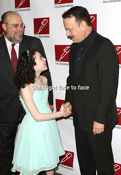 Seth Gelblum, Lilla Crawford, Tom Hanks attending The New Dramatists 64th Annual Spring Luncheon at the Marriott Marquis Hotel in New York City on May 21, 2013...Credit: McBride/face to face