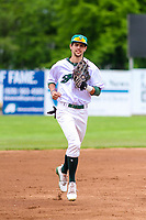 Beloit Snappers outfielder Mickey McDonald (4) jogs in to the dugout during a Midwest League game against the Quad Cities River Bandits on May 20, 2018 at Pohlman Field in Beloit, Wisconsin. Beloit defeated Quad Cities 3-2. (Brad Krause/Four Seam Images)