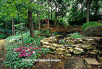 65021-03018 Shade garden with pond, waterfall, hostas, impatiens, ferns, bridge, gazebo, Japanese maples, path, St. Louis,  MO