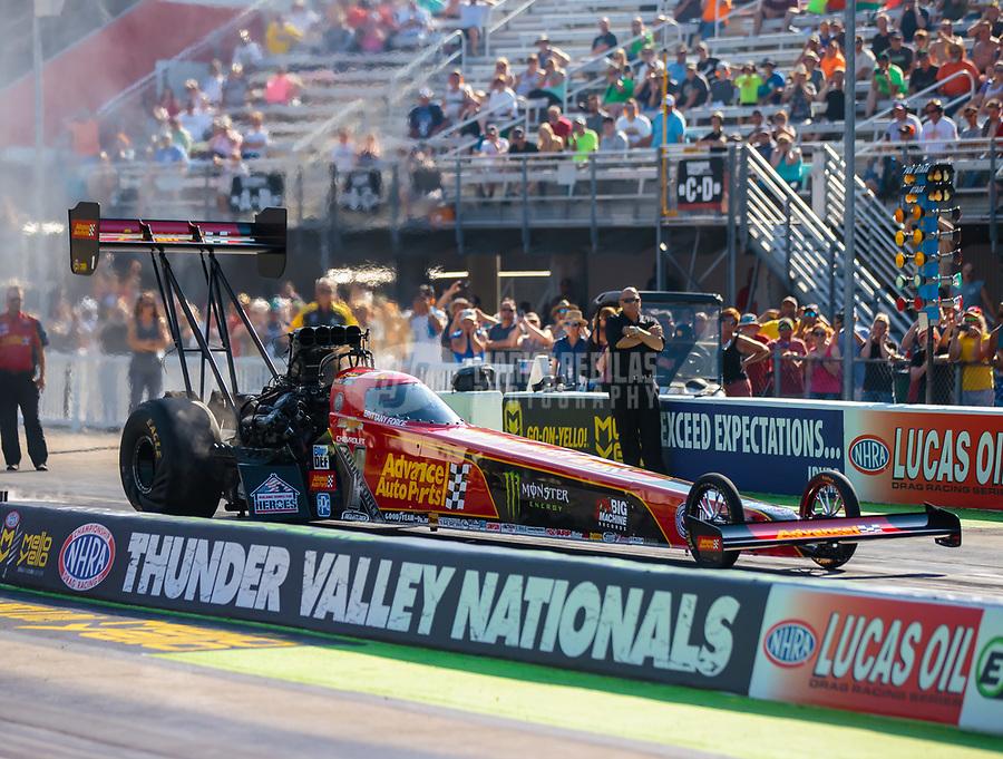 Jun 15, 2018; Bristol, TN, USA; NHRA top fuel driver Brittany Force during qualifying for the Thunder Valley Nationals at Bristol Dragway. Mandatory Credit: Mark J. Rebilas-USA TODAY Sports