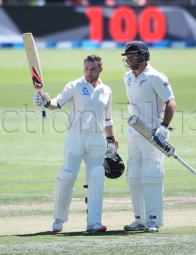 20.02.2016. Christchurch, New Zealand.  Brendon McCullum celebrates a world record test century with Corey Anderson. New Zealand Black Caps versus Australia. Day 1, 2nd test match, Hagley Oval in Christchurch, New Zealand. Saturday 20 February 2016.