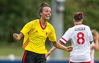 Natalie Murray of Watford Ladies celebrates her goal during the pre season friendly match between Stevenage Ladies FC and Watford Ladies at The County Ground, Letchworth Garden City, England on 16 July 2017. Photo by Andy Rowland / PRiME Media Images.