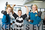 Pictured at the new Gym at Mercy Mounthawk school on Wednesday were from Left were students Mckenzie KeaneKillian Fitzgerald and Una O'Sullivan.