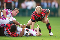 20120823 Copyright onEdition 2012©.Free for editorial use image, please credit: onEdition..Petrus du Plessis of Saracens in action at The Honourable Artillery Company, London in the pre-season friendly between Saracens and Stade Francais Paris...For press contacts contact: Sam Feasey at brandRapport on M: +44 (0)7717 757114 E: SFeasey@brand-rapport.com..If you require a higher resolution image or you have any other onEdition photographic enquiries, please contact onEdition on 0845 900 2 900 or email info@onEdition.com.This image is copyright the onEdition 2012©..This image has been supplied by onEdition and must be credited onEdition. The author is asserting his full Moral rights in relation to the publication of this image. Rights for onward transmission of any image or file is not granted or implied. Changing or deleting Copyright information is illegal as specified in the Copyright, Design and Patents Act 1988. If you are in any way unsure of your right to publish this image please contact onEdition on 0845 900 2 900 or email info@onEdition.com