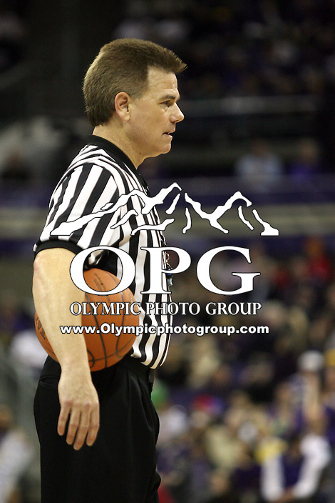 Feb 10, 2011:  NCAA basketball official Larry Spaulding was on hand to officiate the game between Washington and California.  Washington defeated California at Hec Ed Seattle, Washington...