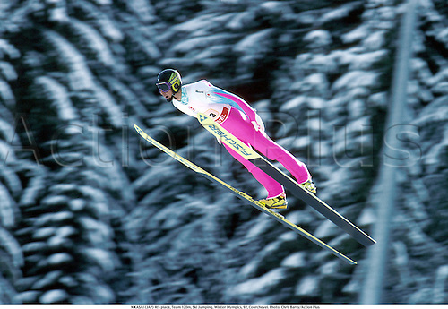 N. KASAI (JAP) 4th place, Team 120m, Ski Jumping, Winter Olympics, 92, Courchevel. Photo: Chris Barry/Action Plus AP10046308 ...jump.olympic games.speed.1992.skiing.skier.ski-jump.ski-jumping.winter sport.winter sports.wintersport.wintersports.nordic.skijump ski-jump ski jumper jumping jump