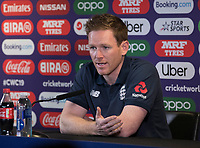 Eoin Morgan (England) speaks with the media during a Press Conference at Edgbaston Stadium on 10th July 2019
