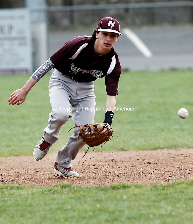 Naugatuck, CT- 23 April 2014-042314CM03-  Naugatuck's Kyle Plasky rushes in for a ground ball during their NVL matchup against Wilby in Naugatuck on Wednesday.   Christopher Massa Republican-American