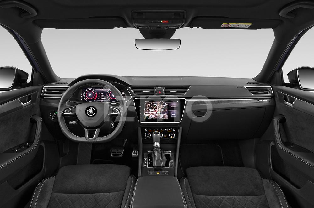 Stock photo of straight dashboard view of 2020 Skoda Superb-Combi Sportline 5 Door Wagon Dashboard