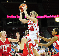 Wisconsin sophomore guard Alyssa Karel goes up against Ohio State Thursday night, 1/8/09, at the Kohl Center in Madison, Wisconsin.