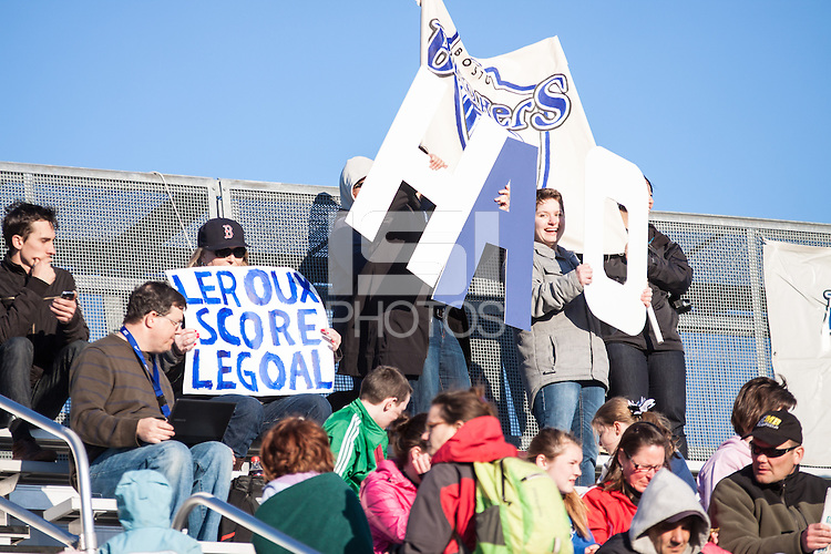 In a National Women's Soccer League Elite (NWSL) match, the Boston Breakers and  Washington Spirit drew 1-1, at the Dilboy Stadium on April 14, 2012.  Spectators at the season opener between the Boston Breakers and the Washington Spirit.