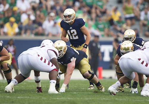 August 31, 2013:  Notre Dame quarterback Andrew Hendrix (12) calls out signals during NCAA Football game action between the Notre Dame Fighting Irish and the Temple Owls at Notre Dame Stadium in South Bend, Indiana.  Notre Dame defeated Temple 28-6.