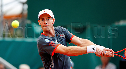 20.04.2012. Monte Carlo, Monaco.    Andy Murray GBR in Action Against Tomas Berdych CZE during The Quarter Final of The 2012 Monte Carlo Rolex Masters played AT The Monte Carlo Country Club Monaco 2012