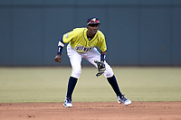 Shortstop Ronny Mauricio (2) of the Columbia Fireflies plays defense in a game against the Charleston RiverDogs on Thursday, April 4, 2019, at Segra Park in Columbia, South Carolina. Charleston won, 2-1. (Tom Priddy/Four Seam Images)