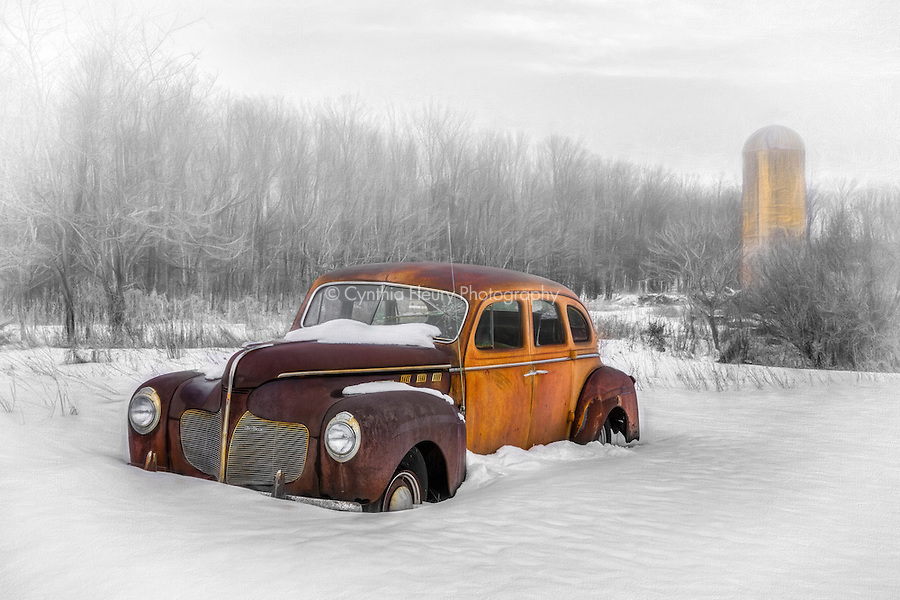 Abandoned De Soto in Snowy Farmfield