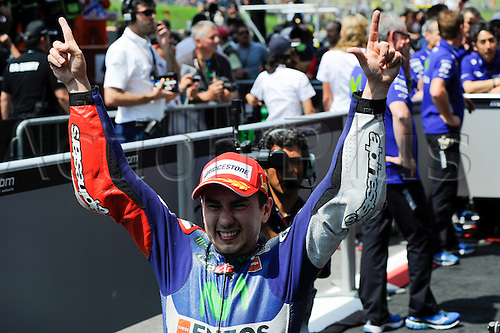 31.05.2015.  Mugello, Italy. MotoGP. Gran Premio d'Italia TIM. Jorge Lorenzo (Movistar Yamaha) celebrates winning the race