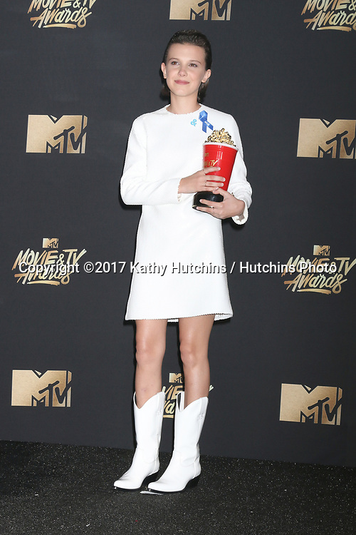 LOS ANGELES - MAY 7:  Millie Bobby Brown at the MTV Movie and Television Awards on the Shrine Auditorium on May 7, 2017 in Los Angeles, CA
