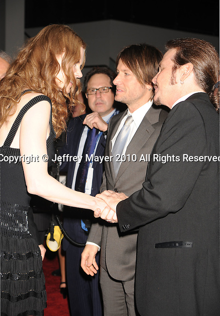LOS ANGELES, CA. - January 29: Nicole Kidman and Keith Urban arrive at the 2010 MusiCares Person Of The Year Tribute To Neil Young at the Los Angeles Convention Center on January 29, 2010 in Los Angeles, California.