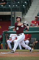 Ryan Gridley (10) of the Mississippi State Bulldogs bats against the Southern California Trojans at Dedeaux Field on March 5, 2016 in Los Angeles, California. Mississippi State defeated Southern California , 8-7. (Larry Goren/Four Seam Images)